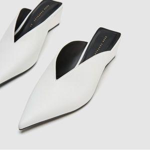 Zara White Wedge Mules